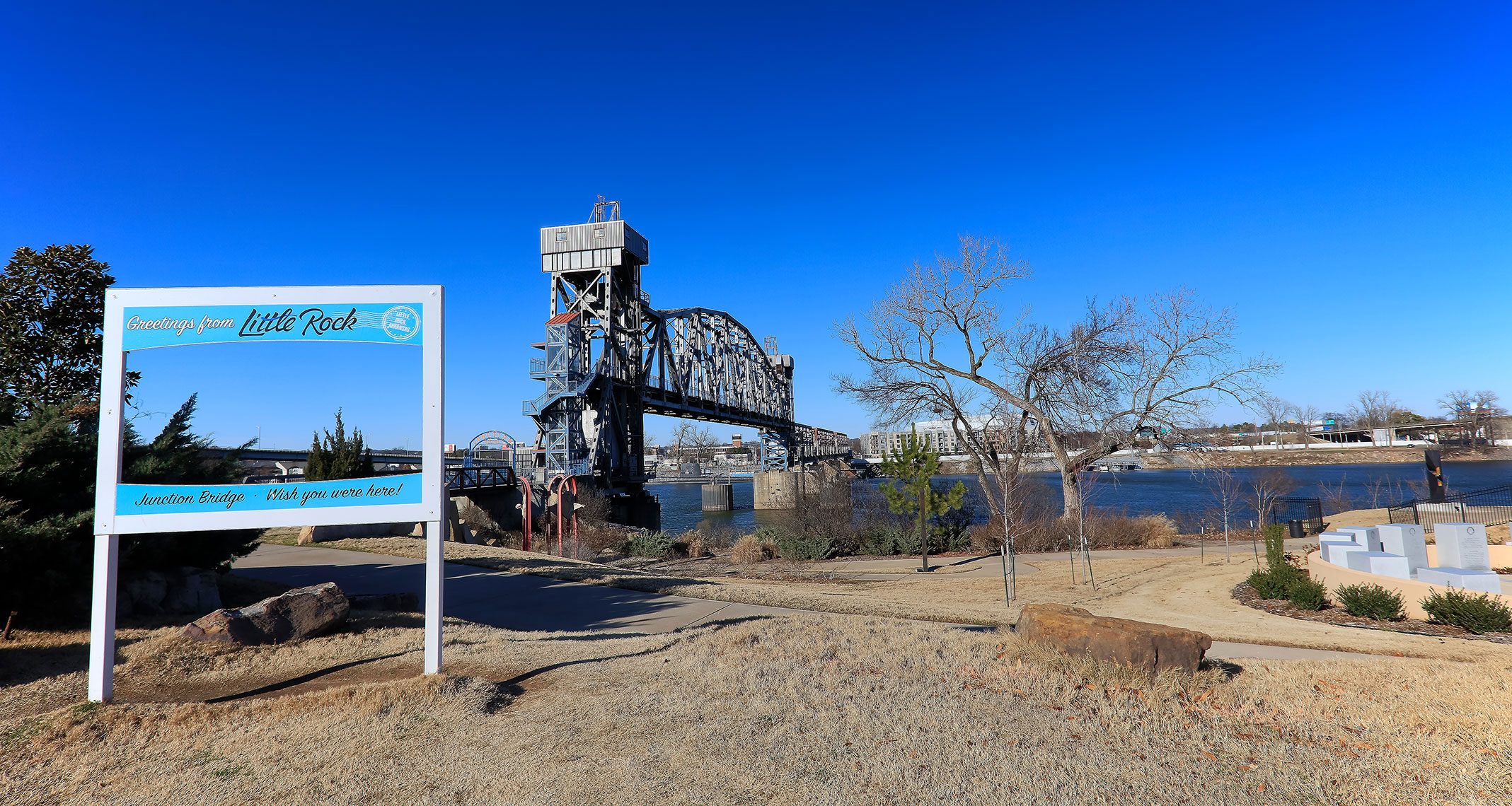 Landscape view of the Arkansas River and industrial structures in Little Rock, Arkansas