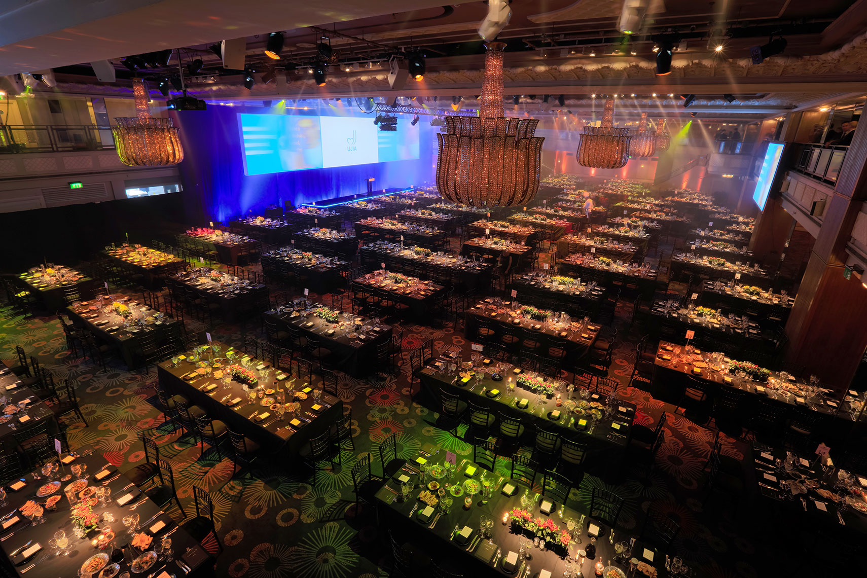 Interior ballroom set up for a corporate event in expensive London hotel.