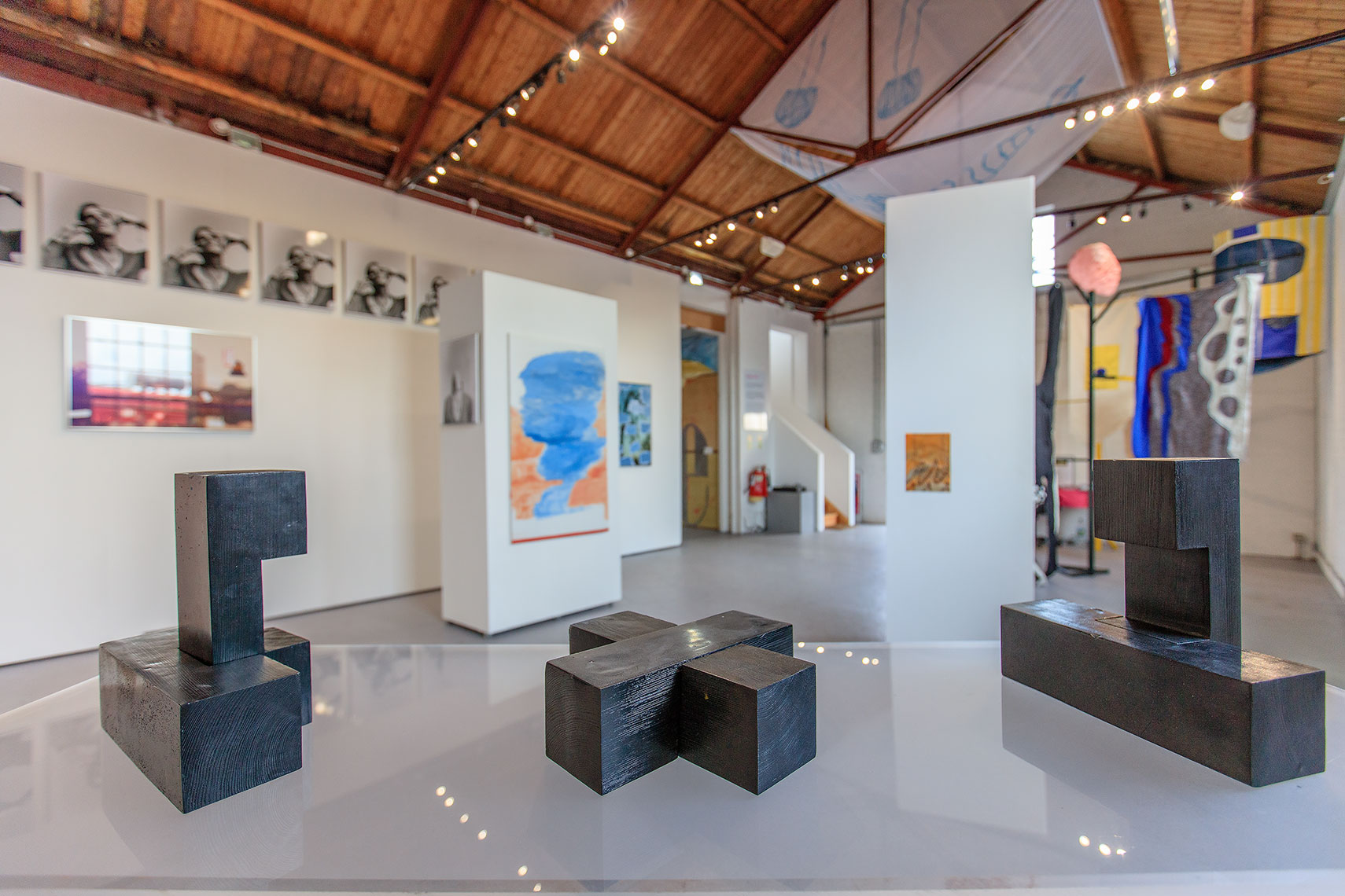 Fine art works on display at a large open plan interior gallery space in Kent