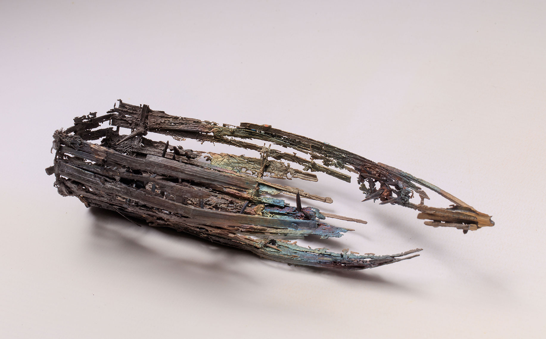 Fine art bronze statue of weathered boat from Dungeoness