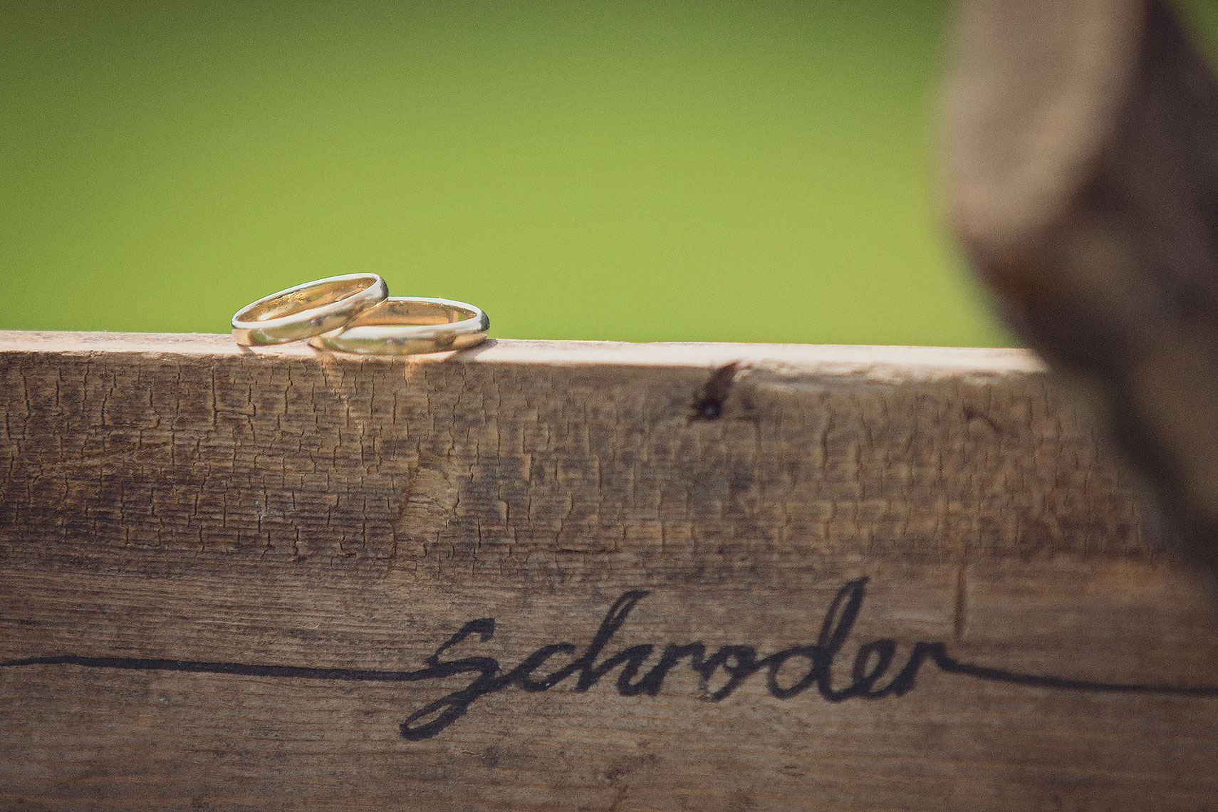 Gold wedding rings resting on wooden fixture with names of bride and groom carved into front