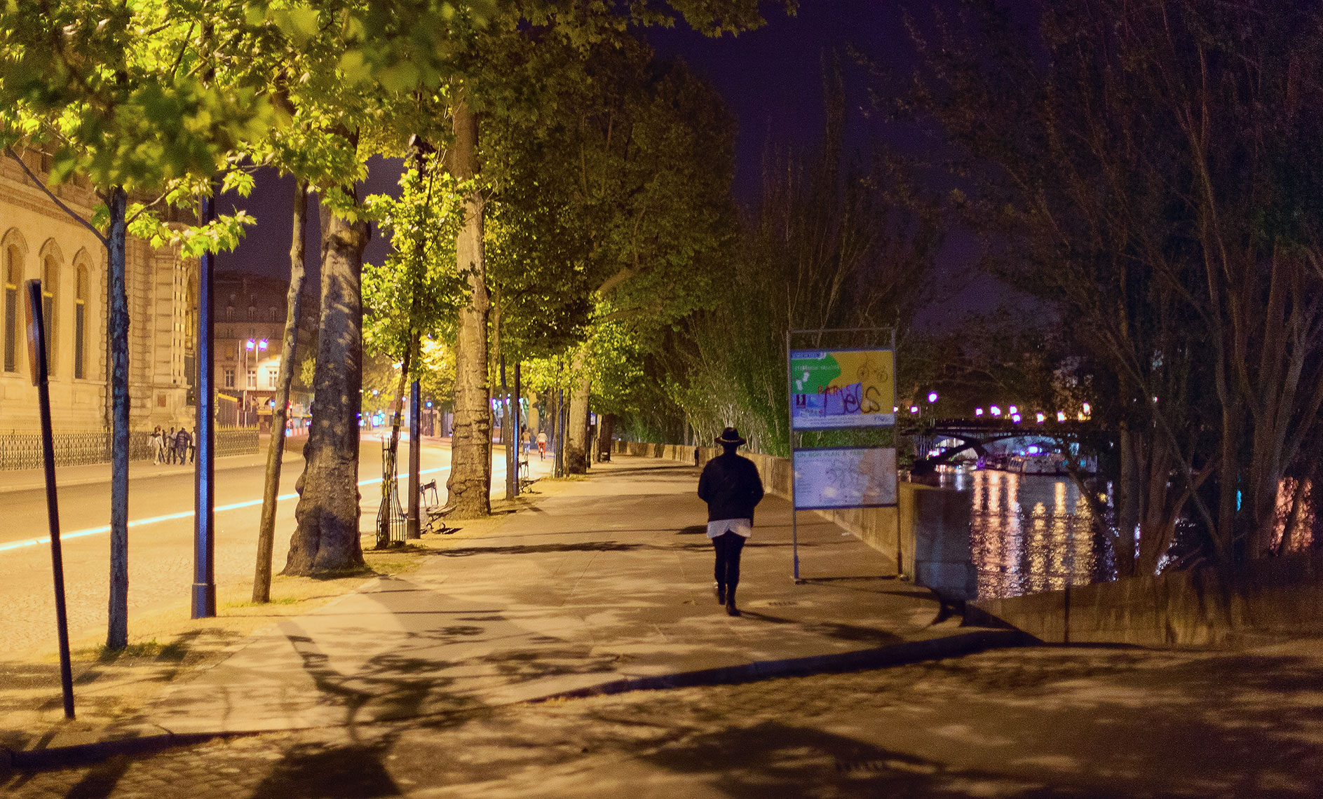 Artistic night landscape in Paris with single man walking next to trees along the river